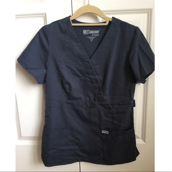 326bdf018a1d8 Grey's Anatomy Steel Gray Mock Wrap Scrub Top